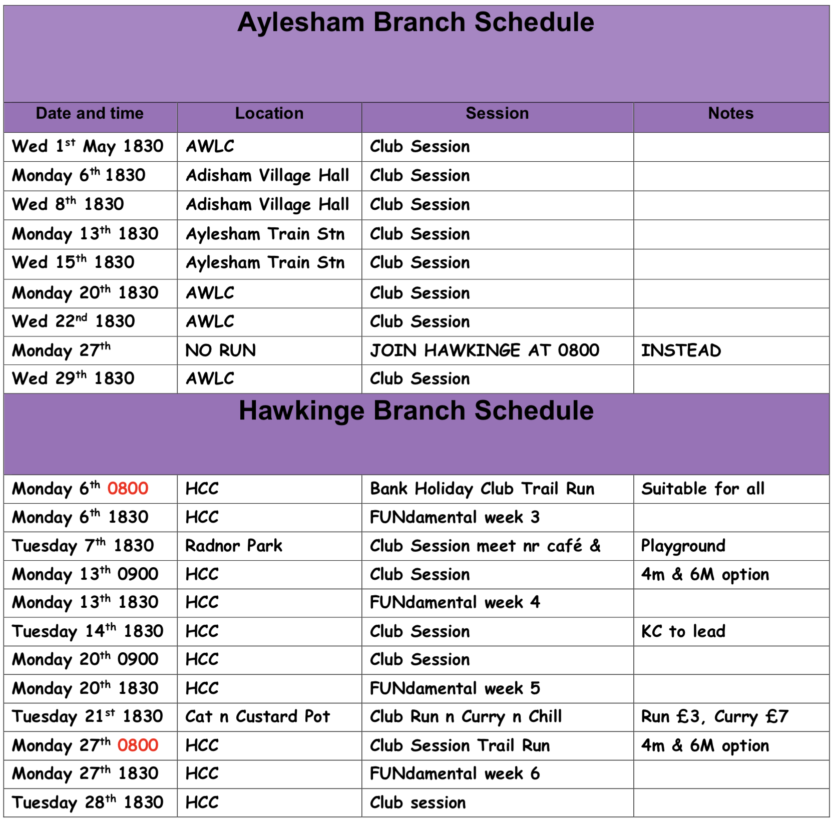 Schedule-May